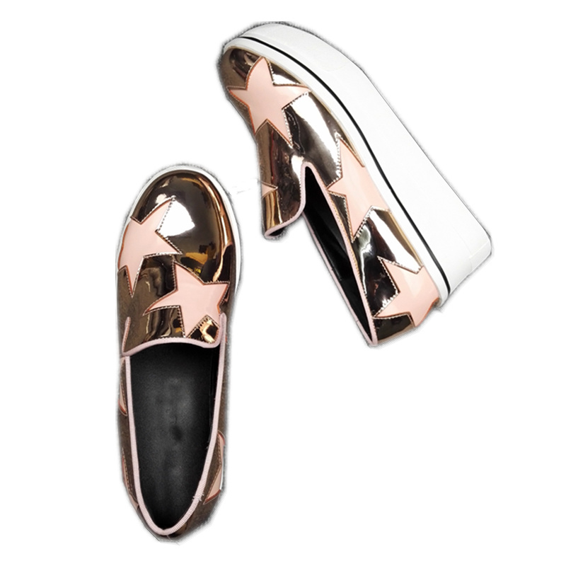 JAWAKYE Round Toe Flat Platform Shoes Women genuine leather five horns stars decorate Slip-On Lazy Loafers Flat Casual Shoes цена