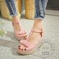 Pu Daily Flatform Cute Wedge Teenage Girls Small Fresh Clasp Soft Leather Plain Red High Heel Shoes Sweet Pu Lolita