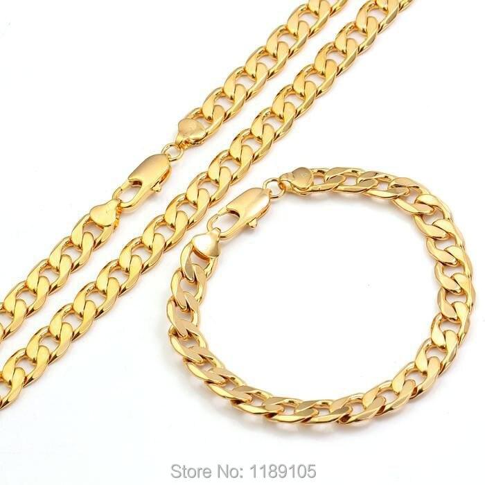 ITALIAN Real 18k18ct yellow gold GF mens necklacebracelet sets
