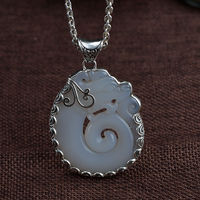 S925 silver pendant vintage Thai silver craft inlaid natural chalcedony round dragon silver pendant woman's pendant