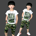 Cool 2016 Brand Set Children Kids Boys Clothes Sets Cartoon Boys T-Shirt + shorts sport suit Baby Boy Clothes 3-10 years Kids