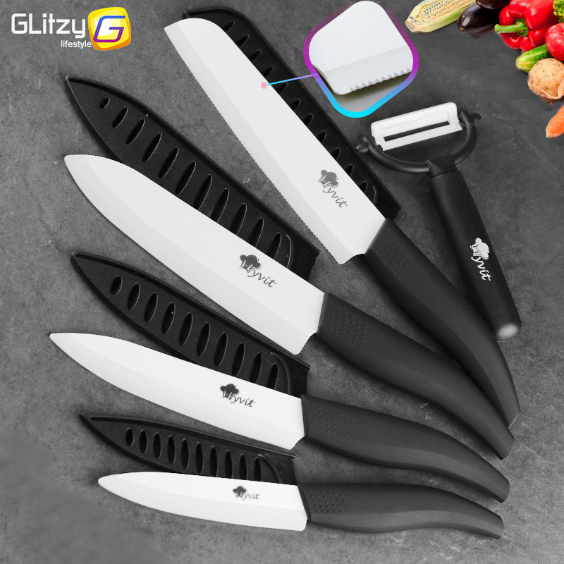 Ceramic Knife White Blade Zirconia 3 4 5 tum + 6 tums Kök Serrated Bread Knife + Peeler Set Kock Matlagning Fruktkniv