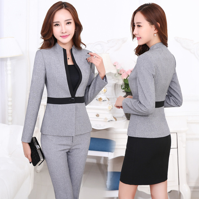 483bb96ba2 2016 work wear women s gray pants suits set formal female clothes uniform  fashion new plus size long-sleeve blazer with Trousers