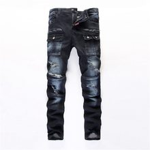 #3238 2016 Designer jeans men High quality Slim fit Straight Dark blue biker jeans Ripped jeans for men Famous brand patches
