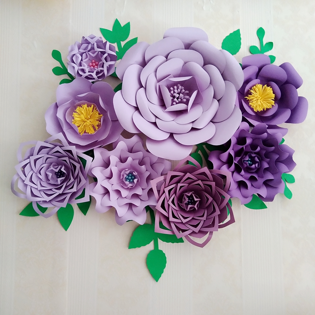 2018 Lilac Purple DIY Half Made 8pcs Giant Paper Flowers With 8pcs Leaves Wedding Backdrops Deco