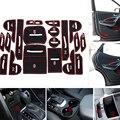 New Non-slip Interior Door Pad Cup Mat Door Gate Slot Mat For Hyundai Santa Fe 2013 2014 2015 IX45, 19pcs/lot, Auto Accessories