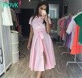 TAOVK Russian style design new 2016 women Summer  dress Pink long section pink dress shirt collar single-breasted dresses