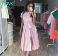 Taovk russo estilo design new 2016 mulheres summer dress rosa pink dress colarinho da camisa longa seção single-breasted vestidos