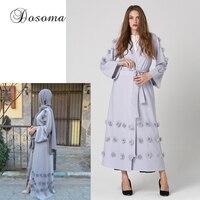 Elegant Muslim Women Abaya Maxi Dress Cardigan Jilbab Loose Style Middle East Long Robe Gowns Arab