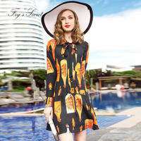 2018 Dress Plus size For Women Fashion Loose Style High quality Print of Wine bottle dresses For Female Girl Autumn