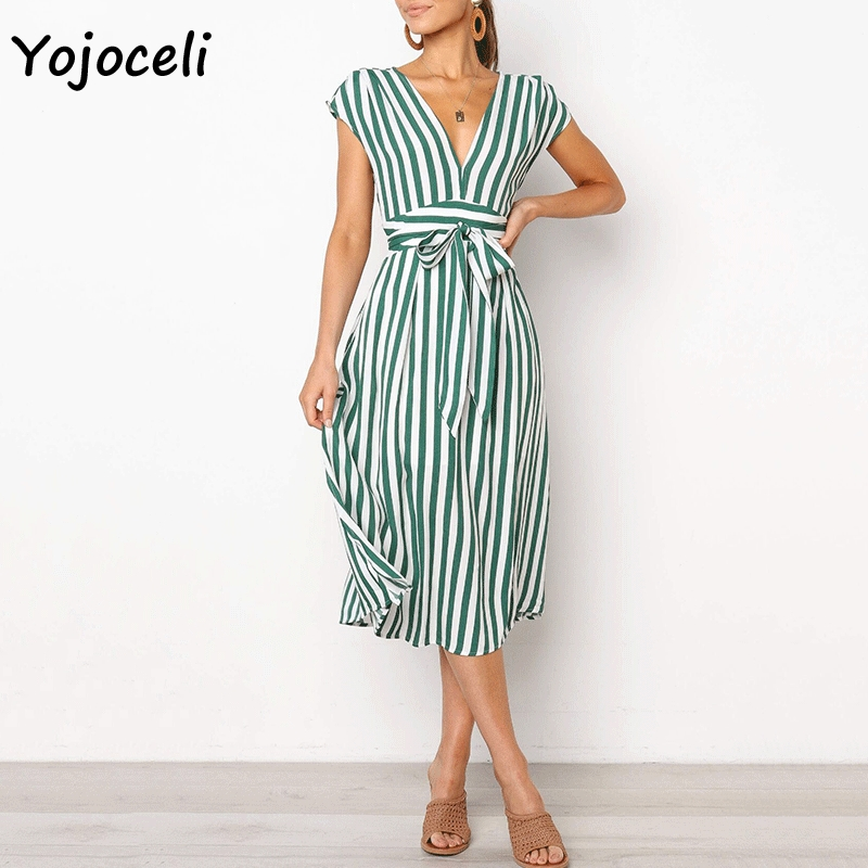 Cuerly v neck striped bow dress streetwear female midi dress casual sleeveless a line dress L5 in Dresses from Women 39 s Clothing