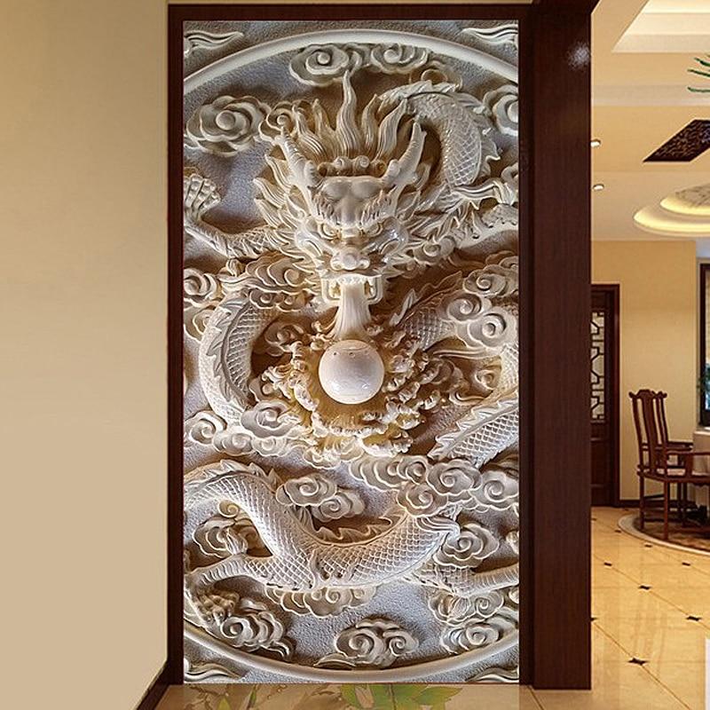 Custom photo wallpaper 3D wallpaper embossed top surface corridor jade dragon playing wallpaper  artificial jade embossed ring