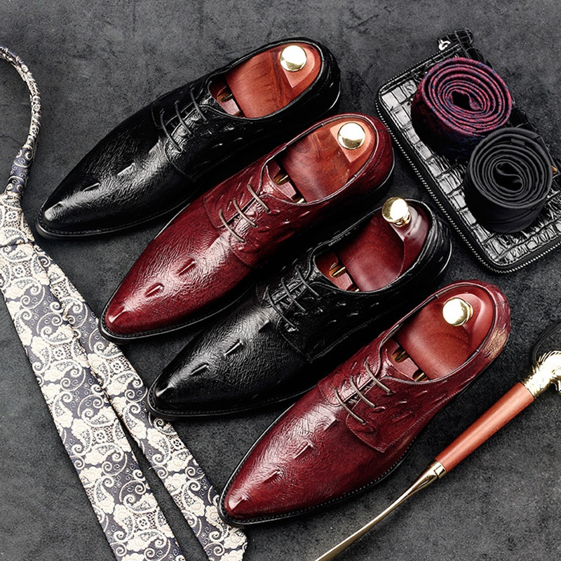 Fashion Italian Designer Man Formal Party Shoes Genuine Leather Alligator Oxfords Pointed Toe Business Men's Bridal Flats GD21 new brand designer formal men dress shoes lace up business party oxfords shoes for men pointed toe brogues men s flats plus size
