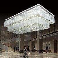 Хрустальные люстры виллы клубы работает огни гостиная потолочные светильники прямоугольной хрустальные светильники Фонари светодиодные