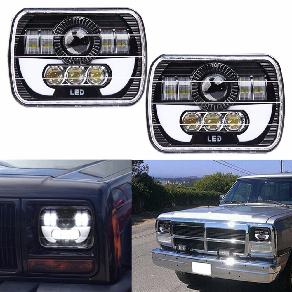 Pair 5X7 Headlights Black Rectangular LED w