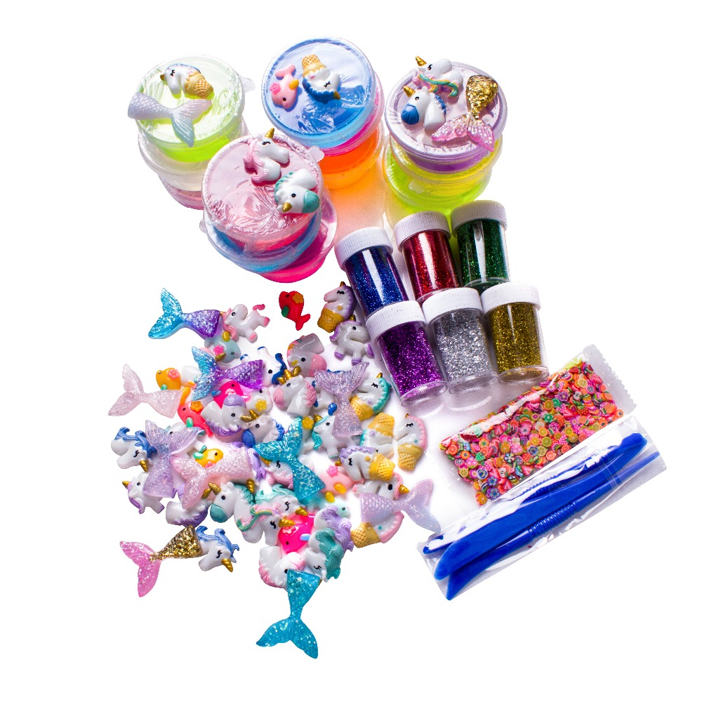 12 Pack Slime Supplies Kit for Slime Making Include Foam Balls 6 pack Glitter Powder 1 pack 60 pcs Mermaid Tail for DIY Slime цена
