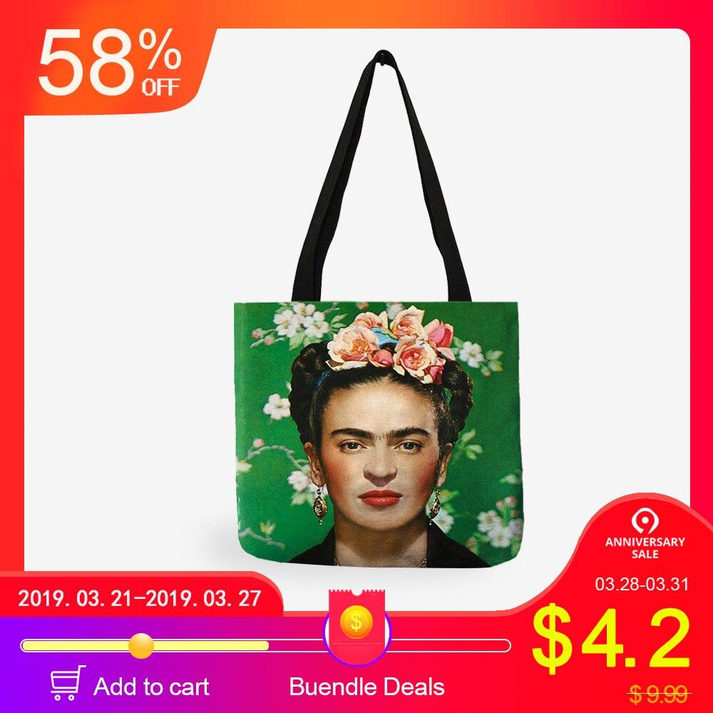 Personalizar artista impresión bolsa para mujeres Casual bolsas de lino con logotipo de impresión de bolsas de compras reutilizables de viaje