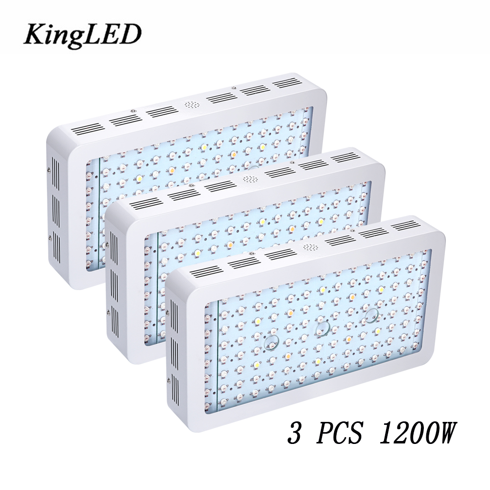 3pcs/Lot King plus 1200W Double Chips LED Grow Light Full Spectrum 410 730nm For Indoor Plants and Flower Phrase Very High Yield