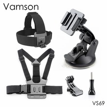 Vamson for Xiaomi for Yi 4 K Accessories Head Strap Chest Strap Suction Cup For Gopro Hero 5 4 3+ 4session for EKEN H9R VS69