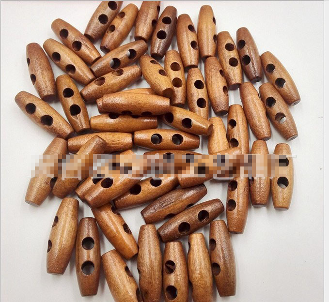 Geinne 25PCs 2 Holes Wooden <font><b>Buttons</b></font> Sewing Horn Toggle <font><b>Buttons</b></font> For Coat Cloth Accessories Craft DIY And Scrapbooking 30mm*<font><b>10mm</b></font> image