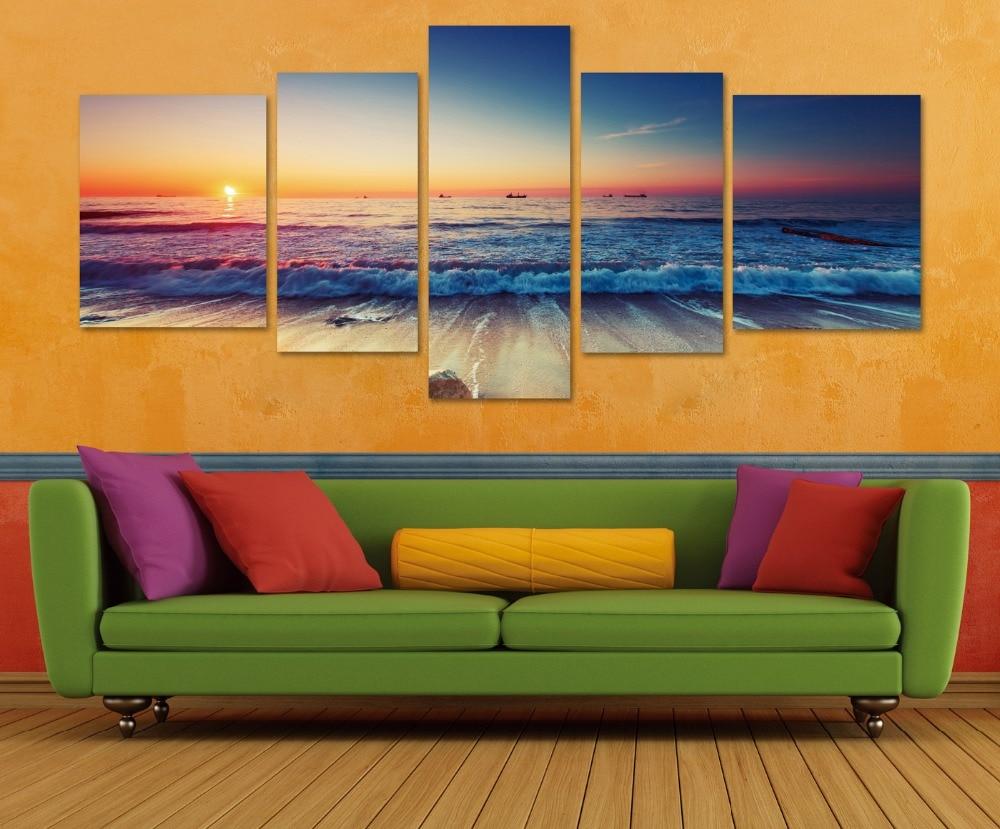 Modern Wall Paintings Living Room Aliexpresscom Buy Seascape Oli Canvas Print Painting