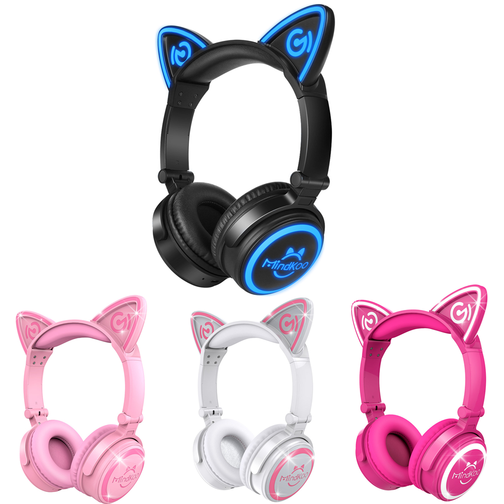 High Quality Fone de ouvido Mindkoo Cat Ear Headphone Foldable Wireless Bluetooth Auriculares Headphones with Mic Four Colors high quality zealot b5 bluetooth wireless headphones foldable tf card over ear hd headphone headsets with mic