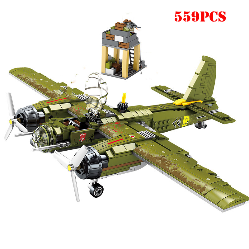 WW2 Military Bomber Building Blocks Army Soldier Figures Compatible Legoed City Helicopter Tank Weapon Brick Children Toys Gifts