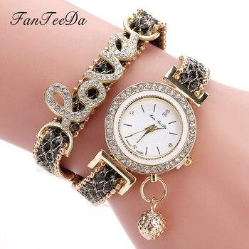 FanTeeDa Women's Fashion Love Word Leather Strap Bracelet Ladies Quartz Watches 3