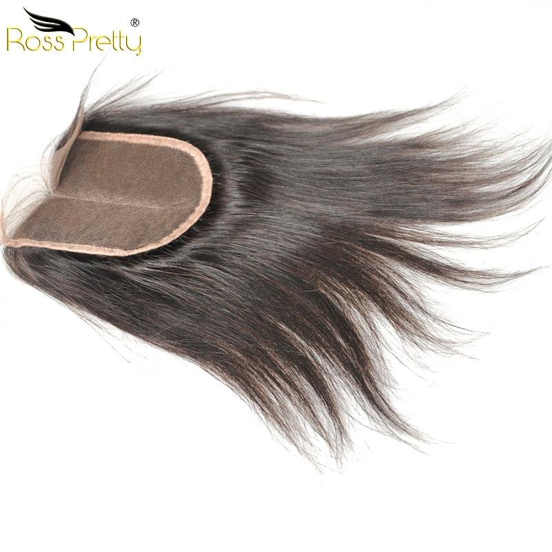 Ross Pretty Peruvian Straight Human Hair Lace Closure Pre plucked Hair 4x4 Swiss Lace Peruvian Remy Hair