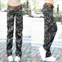 2016 Autumn Cotton Camouflage Pants Women Camouflage Cargo Pants Women High Quality Outdoor Sports Slim Fit