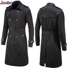 Британский стиль, классический Тренч, куртка, мужской Тренч, двубортный, длинный, тонкий, верхняя одежда, регулируемый ремень, кожаный рукав, ремень