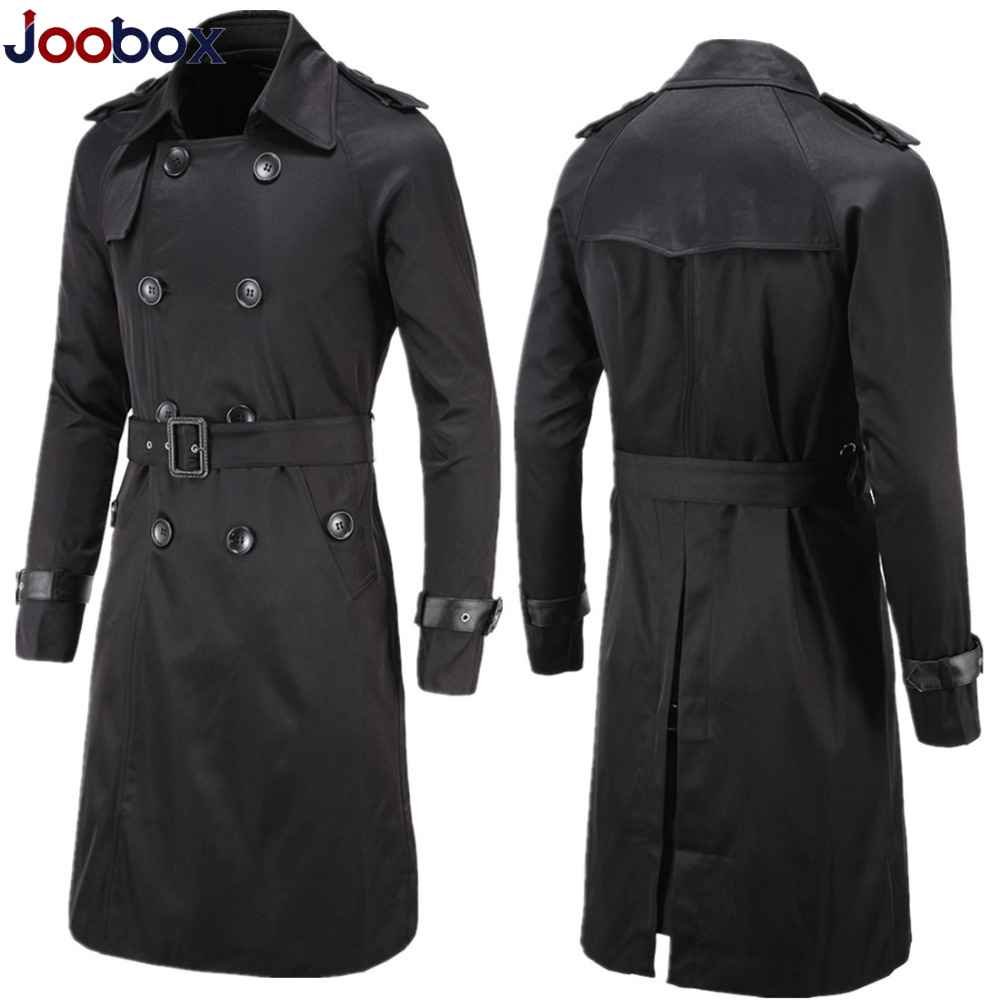 British Style Classic Trench Coat Jacket Men Trenchcoat Double Breasted Long Slim Outwear Adjustable Belt Leather Sleeve Belt