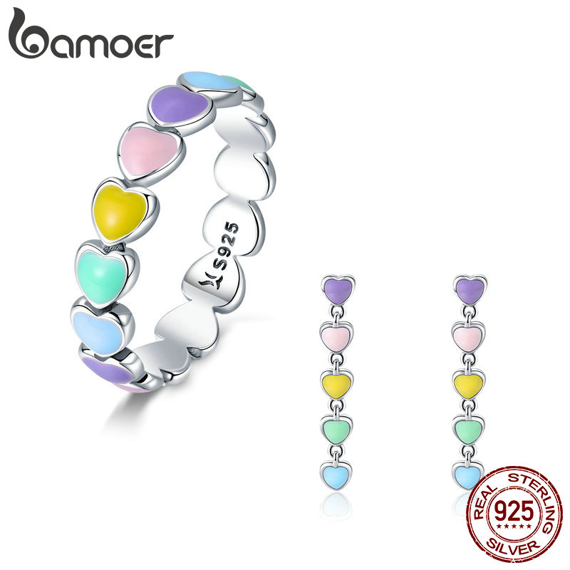 BAMOER Authentic 925 Sterling Silver Jewelry Set Rainbow Heart to Heart Rings & Earrings Jewelry Sets Sterling Silver Jewelry bamoer authentic 925 sterling silver red cz evil and angel pendant necklace earrings jewelry set sterling silver jewelry zh067