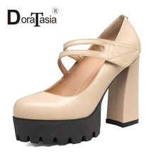 DoraTasia Size 34-39 Brand Design Women Mary Jane Square High Heels Shoes Rubber Sole Platform Party Wedding Pumps