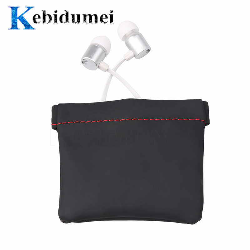 Kebidumei Mini Portable PU Leather Earphone Bag Headphone Accessories Storage Mini Earbuds Protective Package Case For Cable