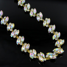 10Yards Bridal Wedding Silver Floral Rhinestones Chain Applique Craft Diamante Trim