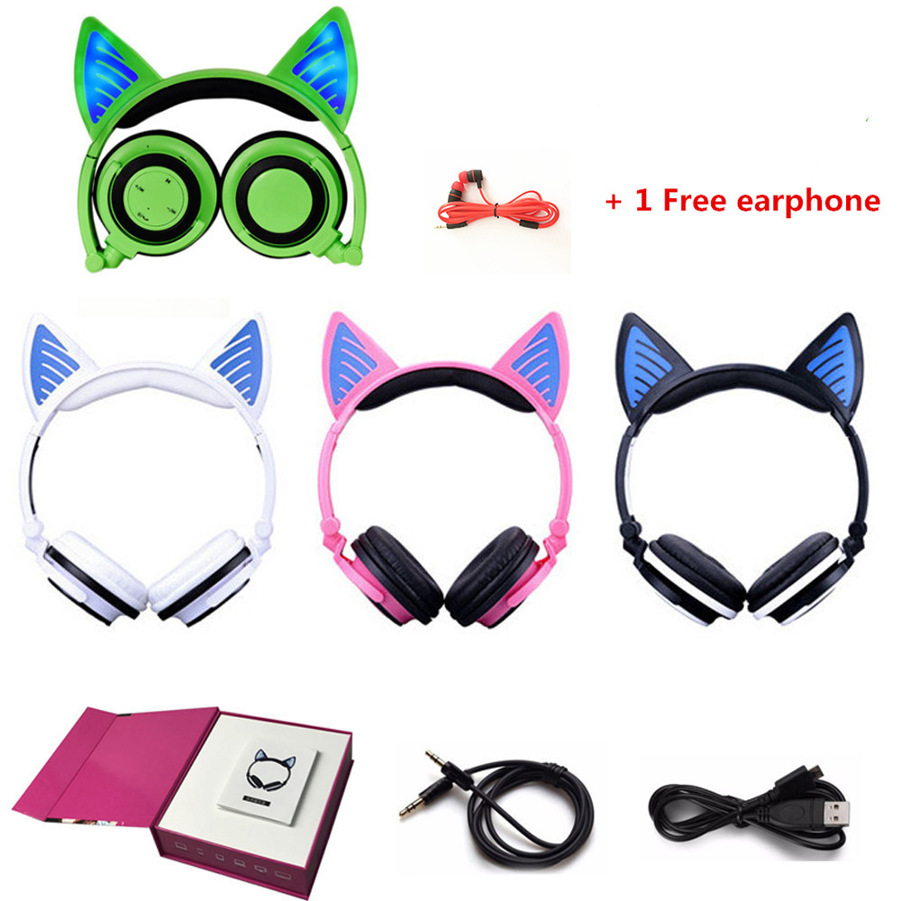 YiJee Wireless Bluetooth V4.2 Headset Cat Headphone Glowing Cat Ear Earphone with Mic for PC Computer and Mobile Phone each g1100 shake e sports gaming mic led light headset headphone casque with 7 1 heavy bass surround sound for pc gamer