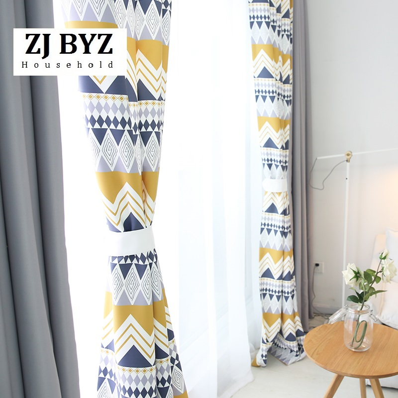 Cortina personalizada geométrica de moda contraído contemporáneo cortinas para sala de estar persiana de dormitorio estilo de día Nórdico