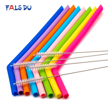 8pcs Reusable Silicone Straws Food Grade Flexible Bent Straight Drinking With Cleaner Brush Party Bar Accessory
