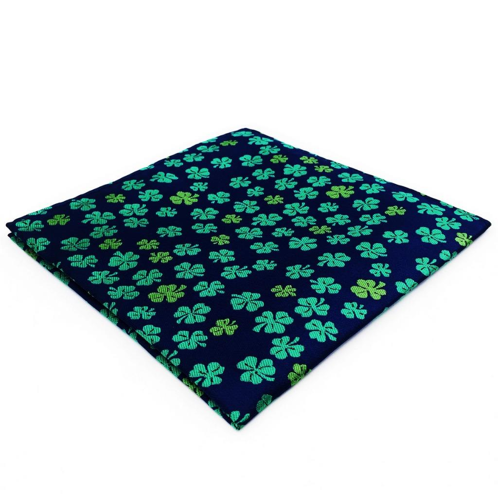 EH18 Mens Pocket Square Blue Green Clover Silk Floral Novelty Handkerchief Classic Fashion Hanky