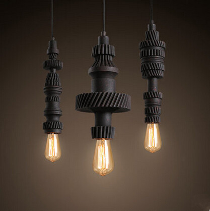 Retro Loft Style Resin Gear Droplight Industrial Vintage Pendant Lights Fixtures For Bar Dining Room Hanging Lamp Lamparas american edison loft style rope retro pendant light fixtures for dining room iron hanging lamp vintage industrial lighting
