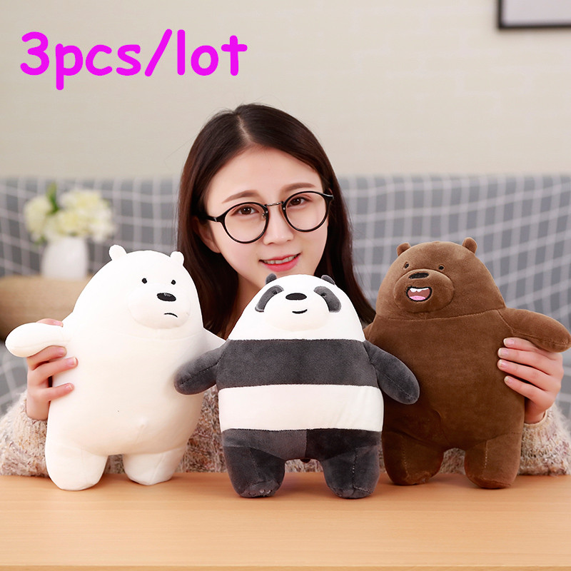 3pcs/lot 27cm Kawaii We Bare Bears Plush Toy Cartoon Bear Stuffed Grizzly Gray White Bear Panda Doll Kids Love Birthday Gift the lovely bow bear doll teddy bear hug bear plush toy doll birthday gift blue bear about 120cm