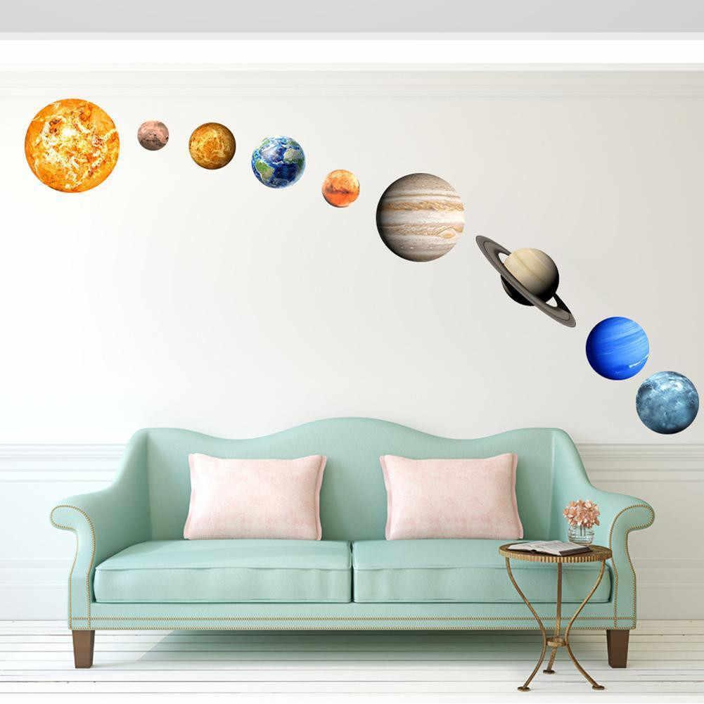 Glow In9Pcs/пакет Темно-30 см круглый планет звезда ПВХ наклейки дети стены, потолок Спальня домашнего декора дропшиппинг d23 July10