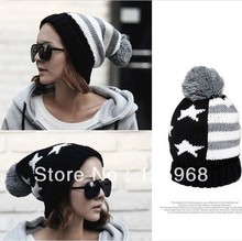 Free Shipping,2013 New 5pcs/lot Star&Striped Style Knitted Beanie Hat,Fashion Crochet Beanies With Pom For Women/Men Winter Warm