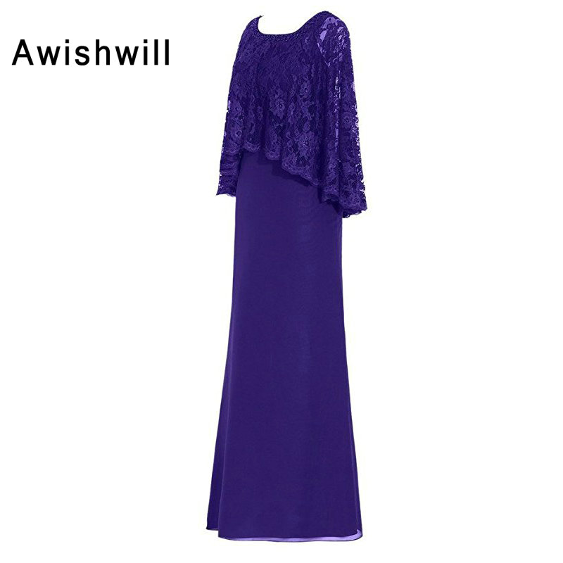 Customized Wedding Party Dress For Women With Lace Cape Chiffon Long Formal Evening Gowns Elegant Mother Of The Bride Dresses