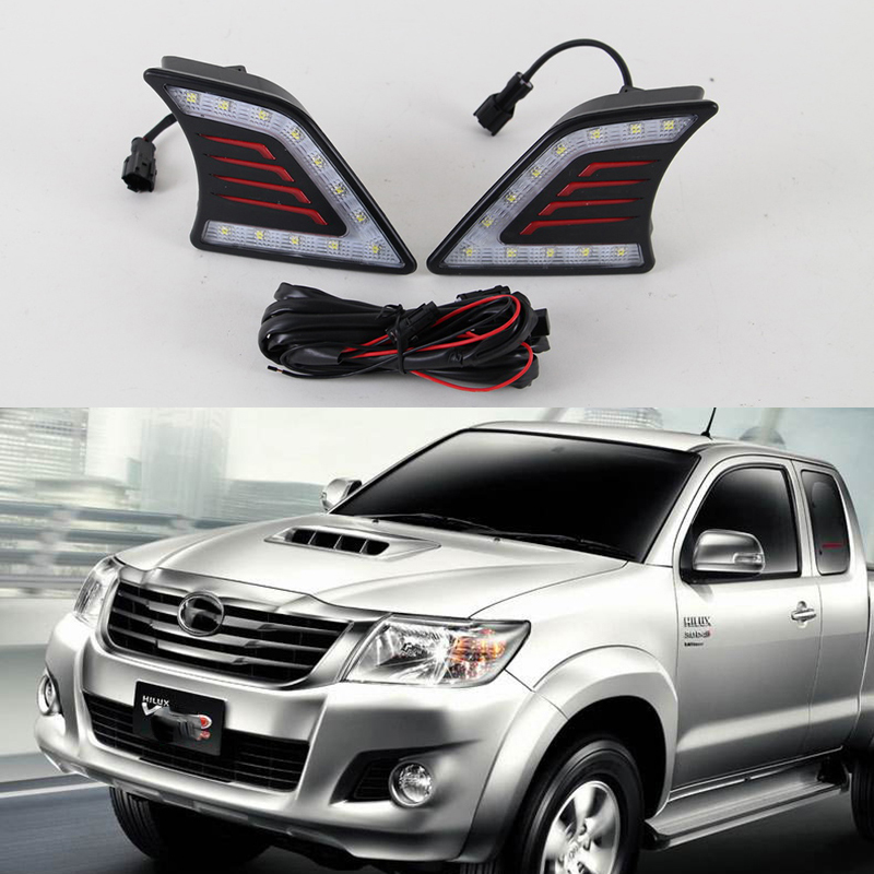 Car Flashing DRL For Toyota Hilux Vigo 2012 2013 2014 Car Styling LED DRL Daytime Running