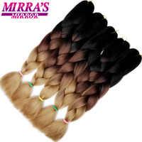 Miroir de Mirra Ombre Crochet cheveux synthétiques tressage Extensions de cheveux longs Jumbo tresses bleu rouge vert gris cheveux trois/deux tons