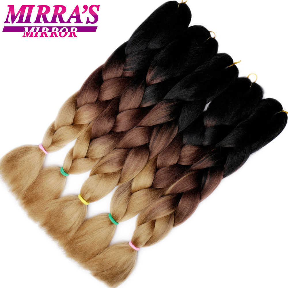Mirra's Mirror Ombre Crochet Hair Synthetic Braiding Hair Extensions Long Jumbo Braids Blue Red Green Grey Hair Three/Two Tone
