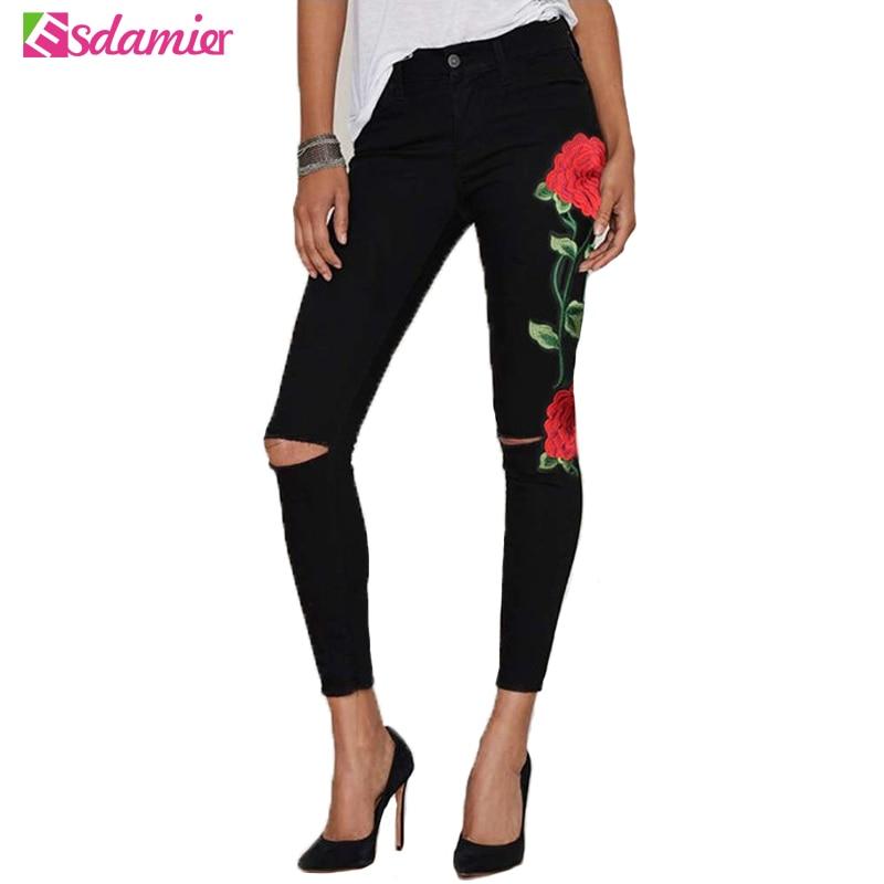 Kvalitní strečové výšivky roztrhané džíny žena vysoký pas hubené džíny pro ženy Sexy hip džíny Femme Black Grey