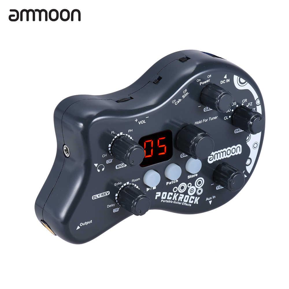 Ammoon PockRock المحمولة الغيتار متعددة الآثار المعالج تأثير دواسة 15 أنواع تأثير 40 طبل إيقاعات ضبط وظيفة